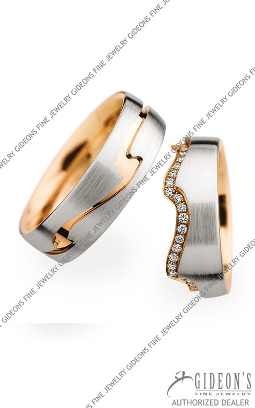 Christian Bauer Platinum and 18k Rose Gold Wedding Band Set 274118-246805