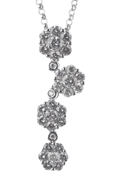 Gideon's Exclusive 18K White Gold Flower Diamond Pendant