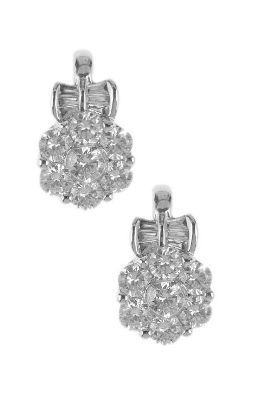 Gideon's Exclusive 18K White Gold Diamond Flower Design Earring