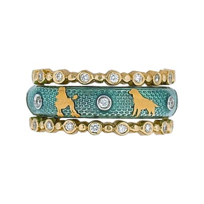Hidalgo Stackable Rings Puppy Lovers Collection Set  (7-468 & 7-468G)