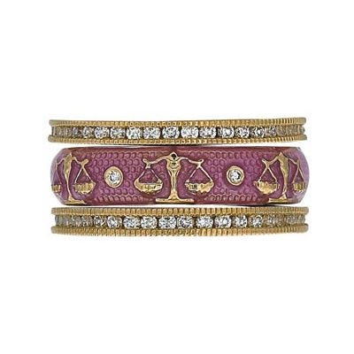 Hidalgo Stackable Rings Zodiac Libra Collection Set  (7-527 & 7-527G)