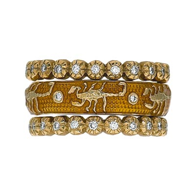 Hidalgo Stackable Rings Zodiac Scorpio Collection Set  (7-529 & 7-529G)