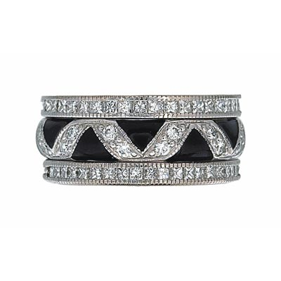 Hidalgo Stackable Rings Art Deco Collection Set (RN2232AMIL & RN2007MIL)