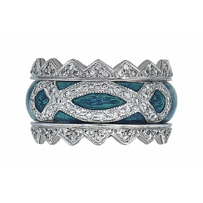 Hidalgo Stackable Rings Art Deco Collection Set (RR1317 & RN2003)