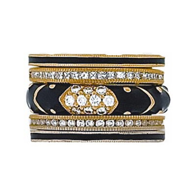 Hidalgo Stackable Rings Art Deco Collection Set (RB4078, RB5006 & RB5021)
