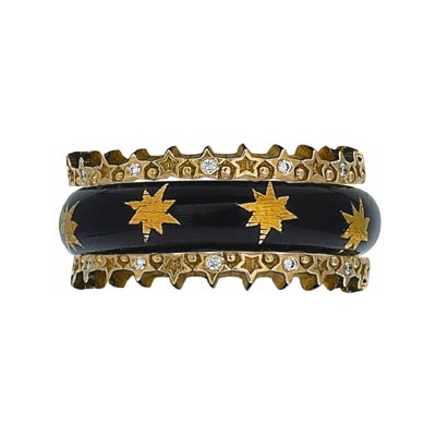 Hidalgo Stackable Rings Moon and Stars Collection Set (RS7533 & RS7453)