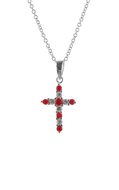 Gideon's Exclusive 18K White Gold Ruby Cross Pendant