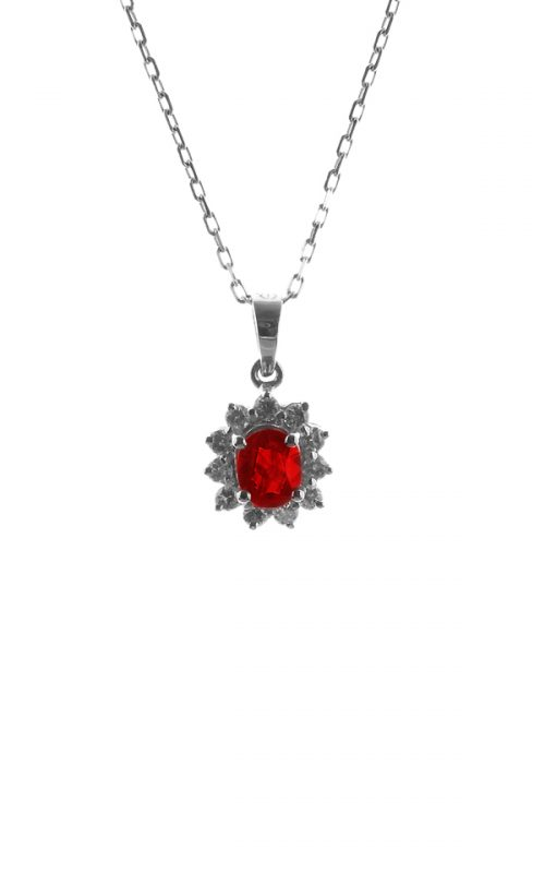 Gideon's Exclusive 14K White Gold Ruby Vintage Pendant