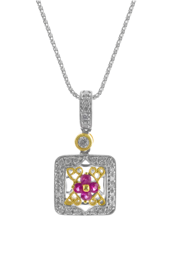 Gideon's Exclusive 18K White and Rose Gold Pink Sapphire Vintage Pendant