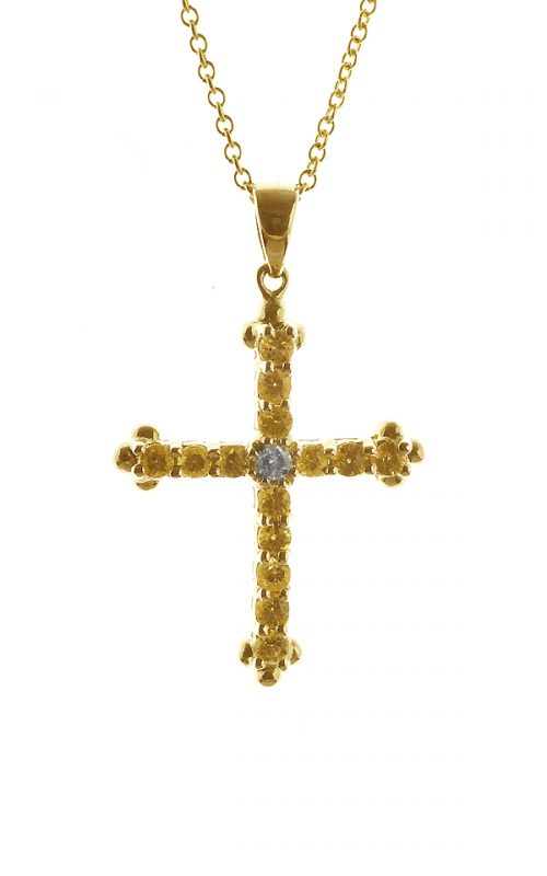 Gideon's Exclusive 14K Yellow Gold Yellow Sapphire Cross Pendant