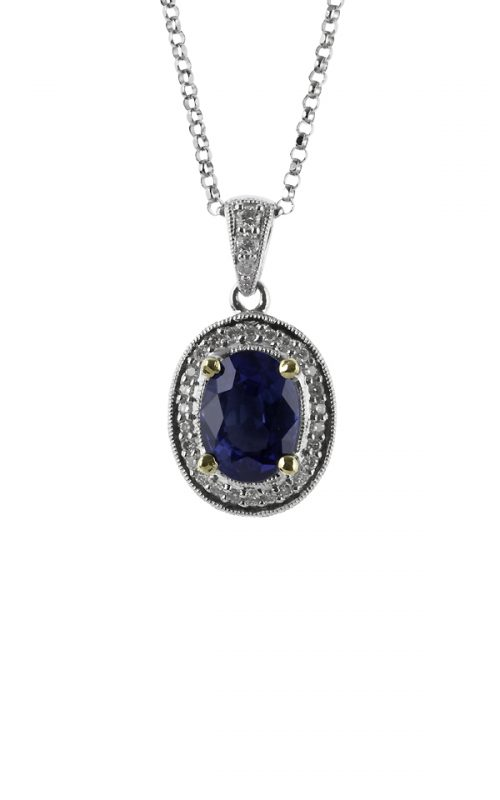 Gideon's Exclusive 18K White Gold Sapphire Vintage Pendant