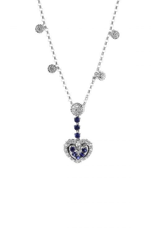 Gideon's Exclusive 18K White Gold Sapphire Heart Pendant