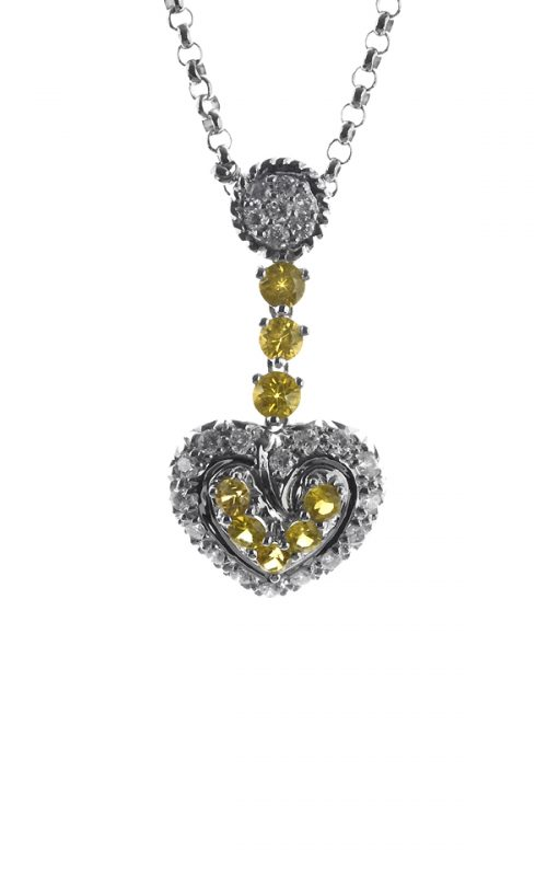 Gideon's Exclusive 14K White Gold Sapphire Heart Pendant