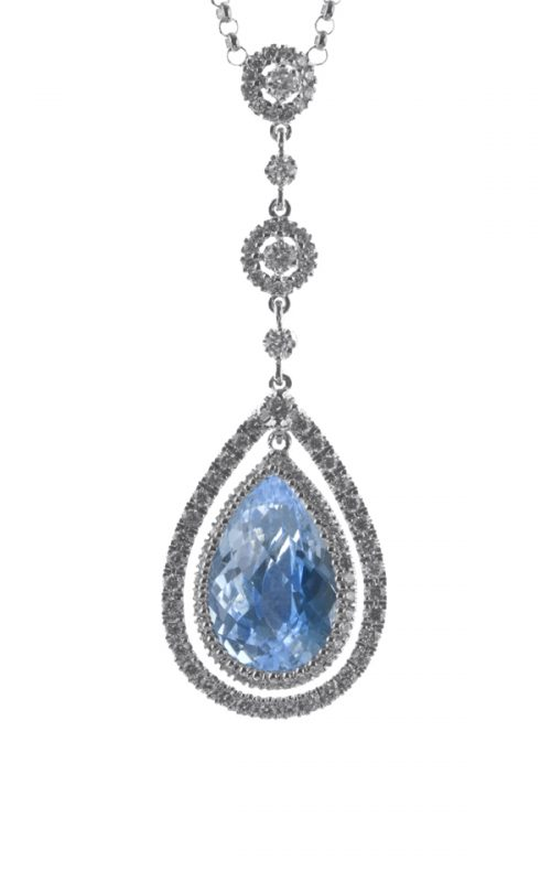Gideon's Exclusive 18K White Gold Topaz Pendant
