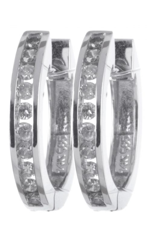 Gideon's Exclusive 14K White Gold Diamond Hoop Earring