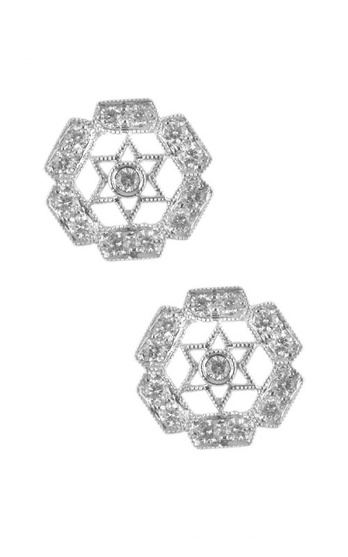 Gideon's Exclusive 18K White Gold Diamond Flower Design Earring