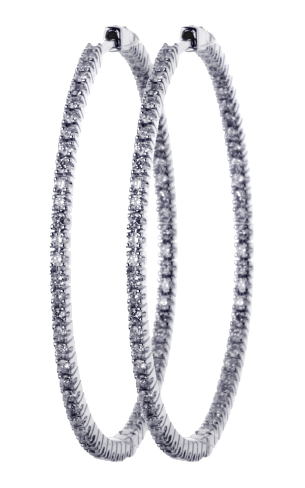 Gideon's Exclusive 18K White Gold Diamond Hoop Earring