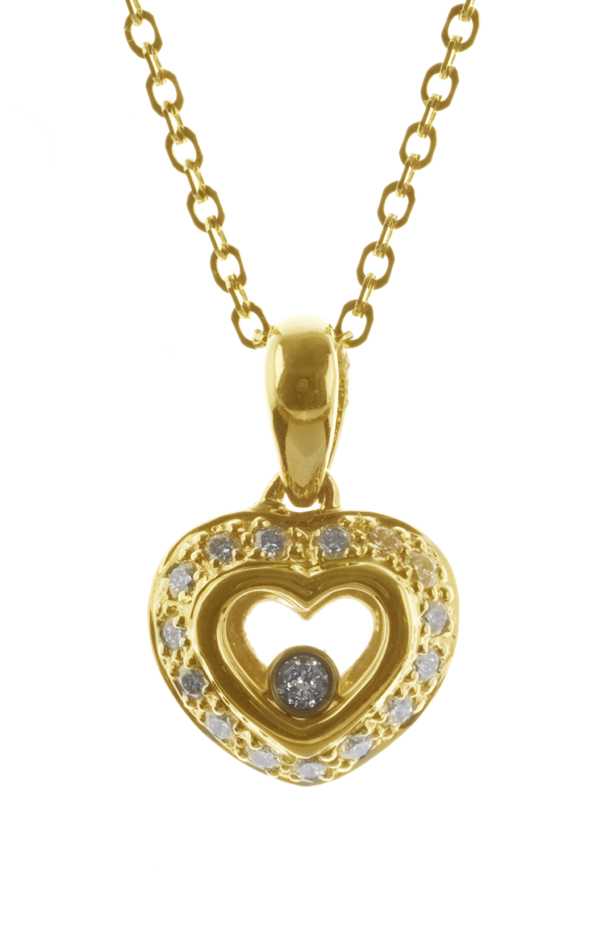 Gideon's Exclusive 18K Yellow Gold Diamond Heart Pendant