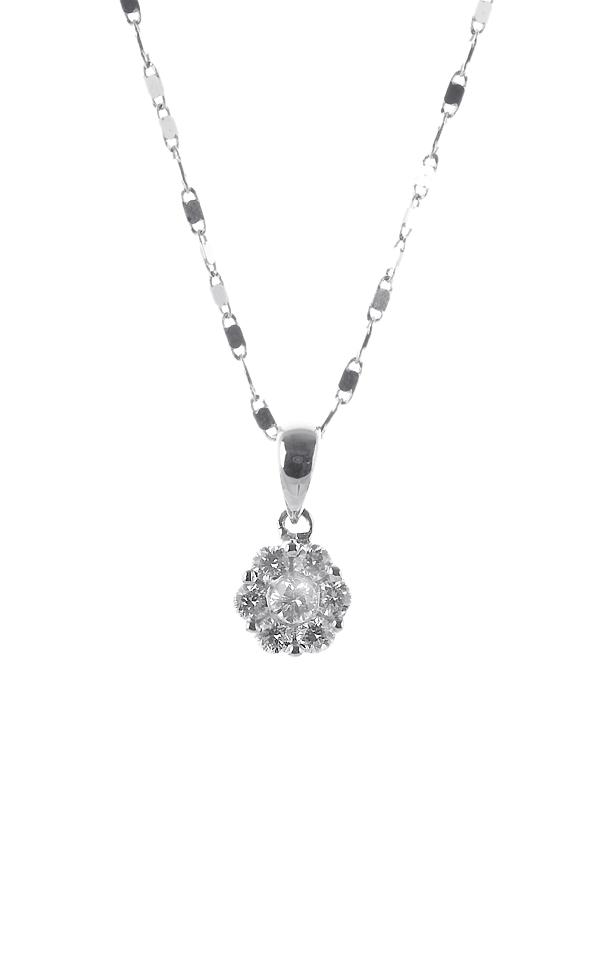 Gideon's Exclusive 18K White Gold Flower Diamond Pendant