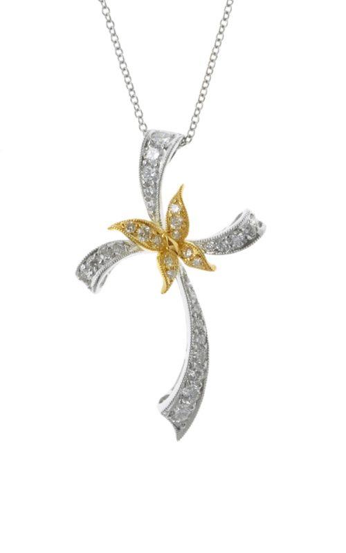 Gideon's Exclusive 18K White & Yellow Gold Diamond Cross Pendant