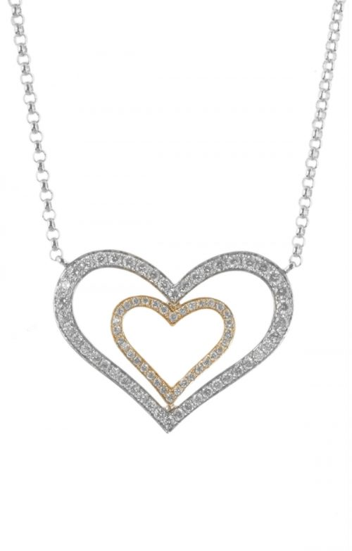 Gideon's Exclusive 18K White and Yellow Gold Diamond Heart Pendant