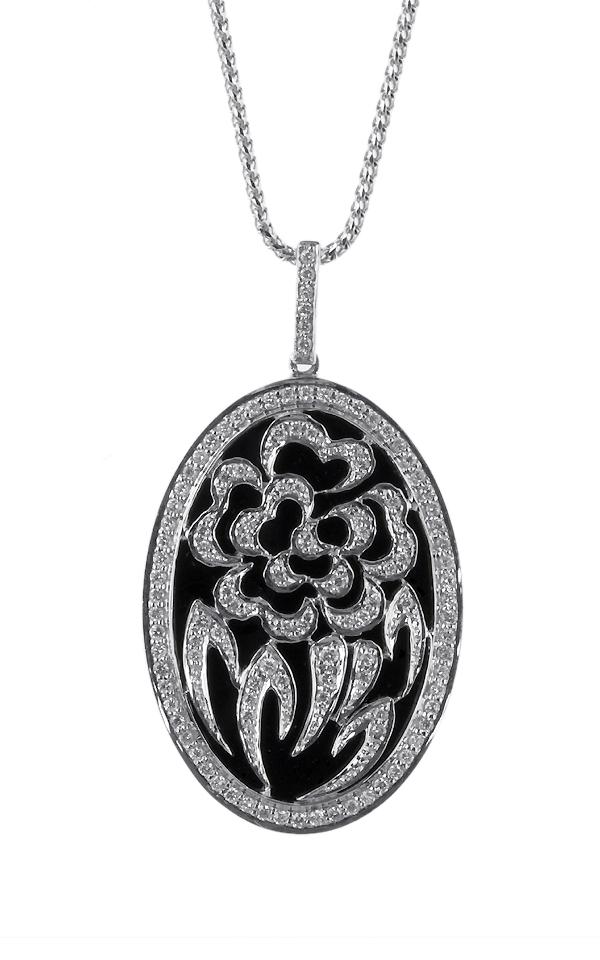 Gideon's Exclusive 18K White Gold Onyx Diamond Pendant