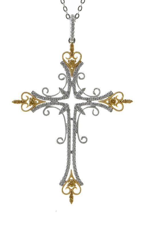 Gideon's Exclusive 18K White and Yellow Gold Diamond Cross Pendant