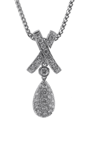 Gideon's Exclusive 18K White Gold Teardrop Diamond Pendant
