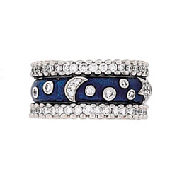 Hidalgo Stackable Rings Moon and Stars Collection Set (RS6001 & RN2012)