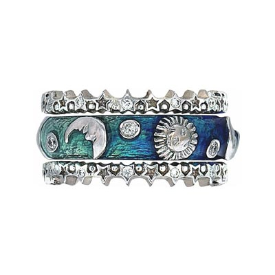 Hidalgo Stackable Rings Moon and Stars Collection Set (RR1993 & RS6906)