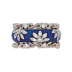 Hidalgo Stackable Rings Flowers Collection Set (RS6040 & RS7409)