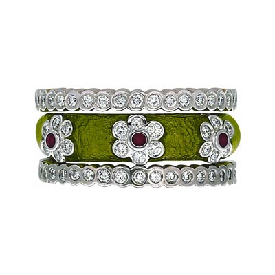 Hidalgo Stackable Rings Flowers Collection Set (RR1279 & RN2017)