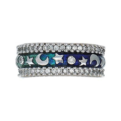 Hidalgo Stackable Rings Moon and Stars Collection Set (RR1988 & RS7453)