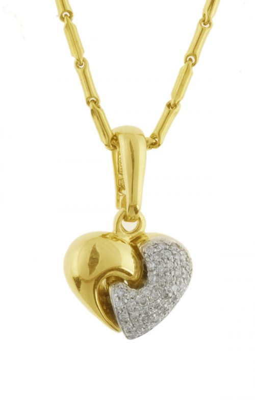 Gideon's Exclusive 18K Yellow Gold Diamond Heart Pendant