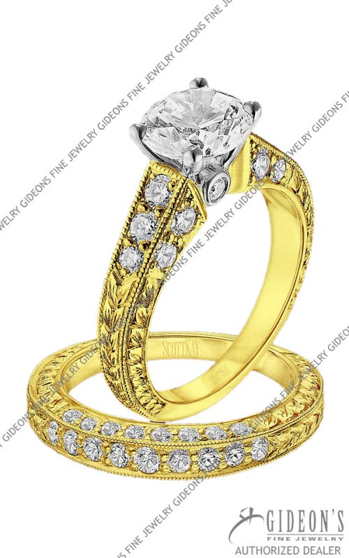 Scott Kay Gold Engagement Set(M1135RD10FP & B1135RD10FF)