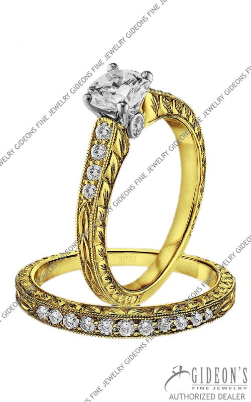 Scott Kay Gold Engagement Set(M1138RD07FP and B1138RD07FF)