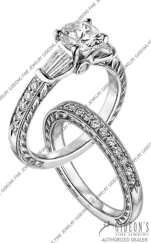 Scott Kay Platinum Engagement Set(M1145BDRD10PP & B1145RD10PP)