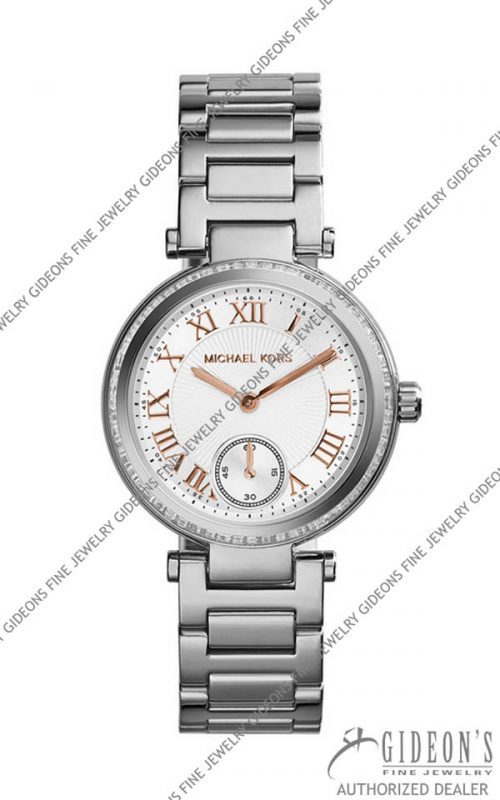 Michael Kors Mini Silver Color Stainless Steel Skylar Three-Hand Glitz Watch MK5970