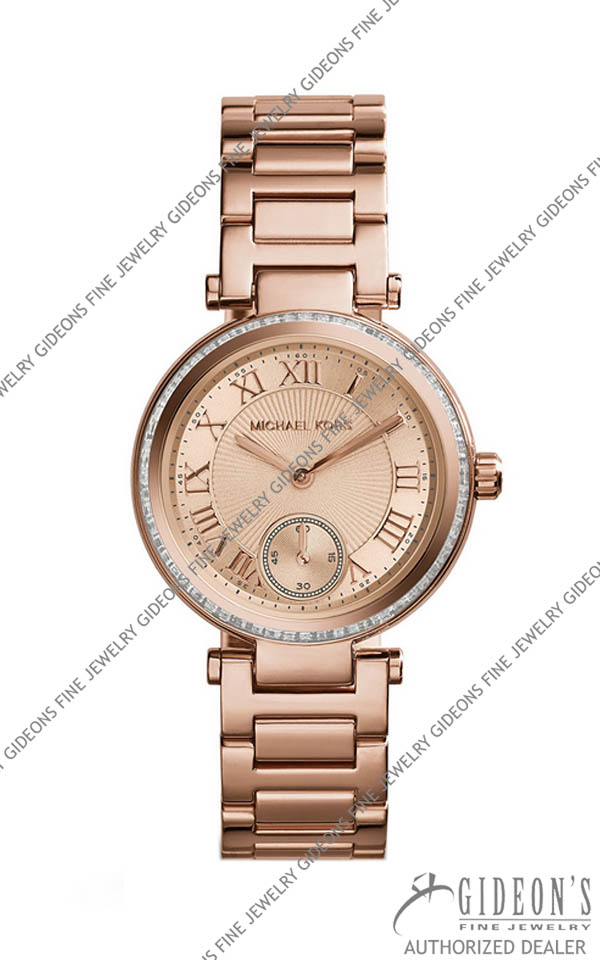 Michael Kors Mini Rose Golden Stainless Steel Skylar Three-Hand Glitz Watch MK5971