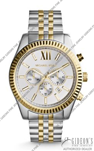 Michael Kors Lexington Silver and Gold Tone Quartz Chronograph Watch MK8344