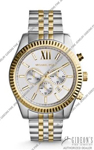 Michael Kors Lexington Silver and Gold Tone Quartz Chronograph Watch MK8344