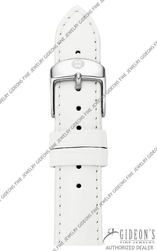 Michele White Patent Leather Strap MS18AA050100 18 mm