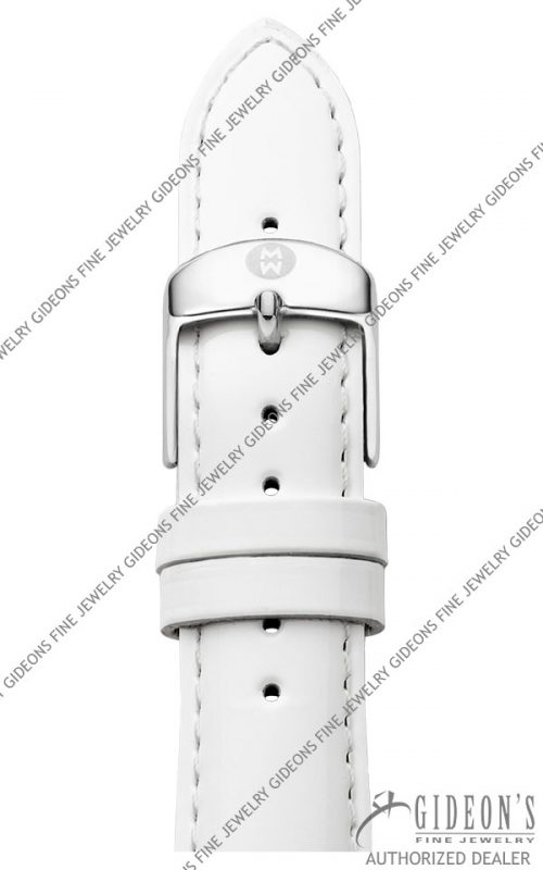 Michele White Patent Leather Strap MS20AB050100 20 mm