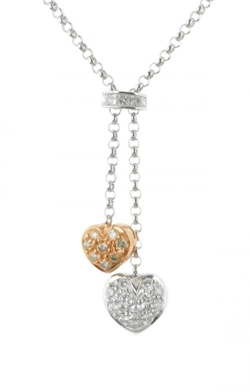 Gideon's Exclusive 18K White and Rose Gold Diamond Heart Pendant
