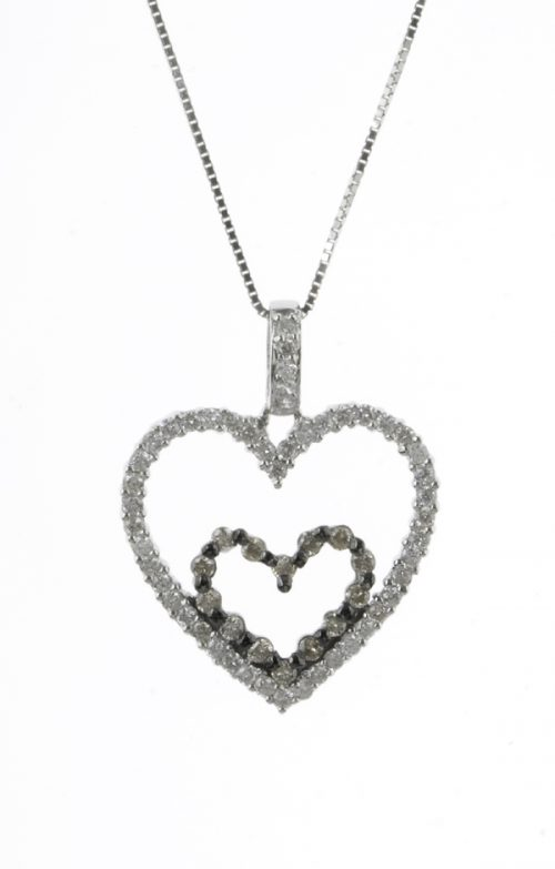 Gideon's Exclusive 18K White & Champagne Gold Diamond Heart Pendant