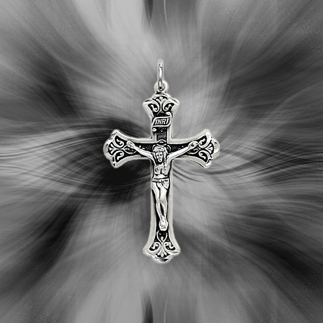 Quality Sterling Silver Antiqued INRI Crucifix Pendant QC3418