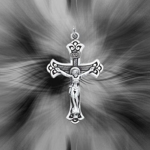 Quality Sterling Silver Antiqued INRI Crucifix Pendant QC435