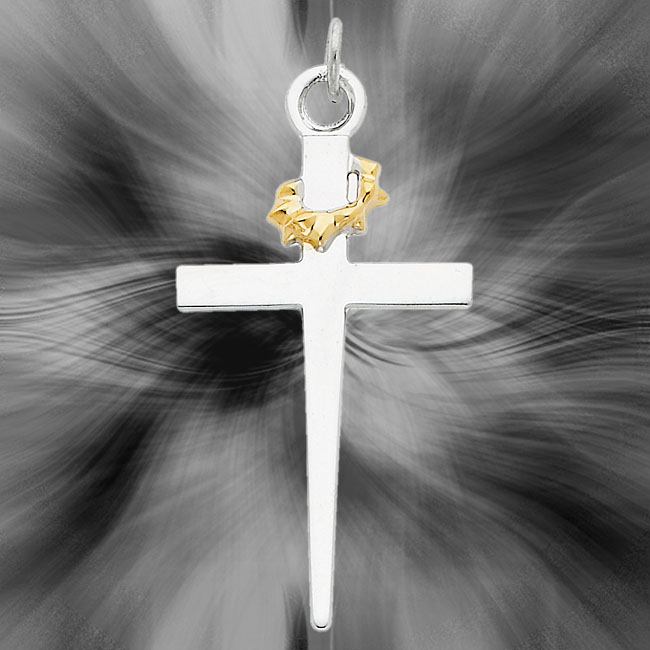 Quality Sterling Silver with 18K Gold-Plated Cross Pendant QC5240