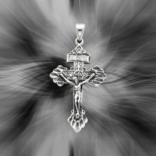 Quality Sterling Silver Antiqued Crucifix Pendant QC5415