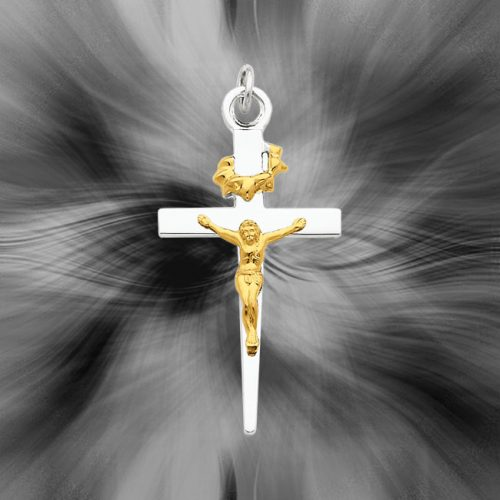 Quality Sterling Silver with 18K Gold-Plated Crucifix Pendant QC5421